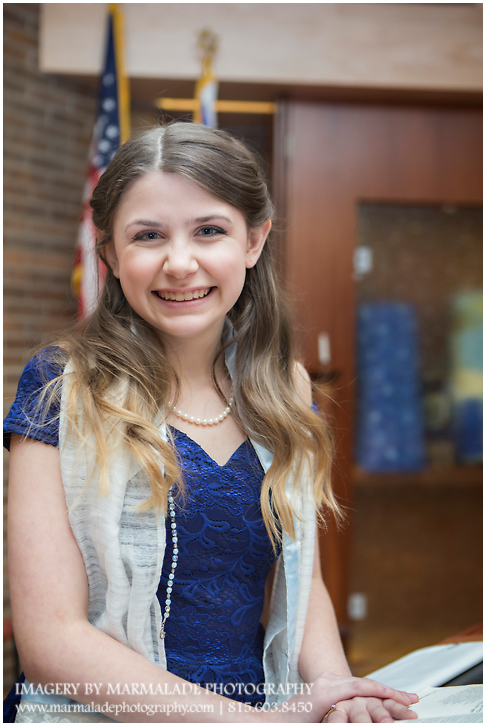 An example of a photo of a girl in her synagogue for during a North Shore Chicago Bat Mitzvah