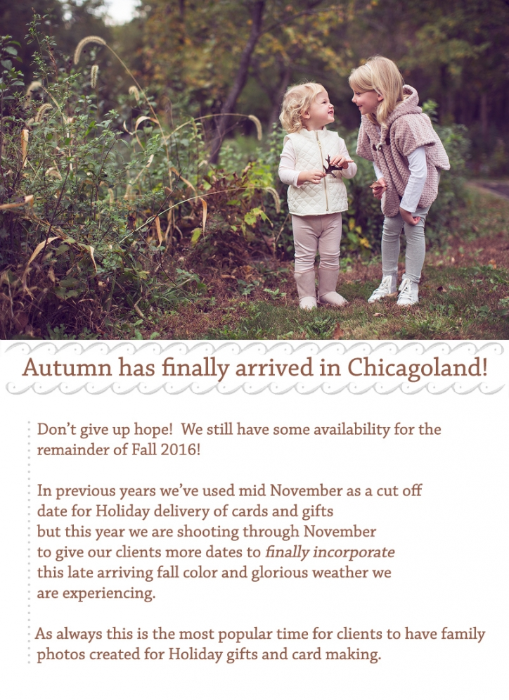 Opportunity for fall family photos in late fall 2016
