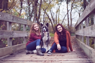 Photo of two girls with their dog