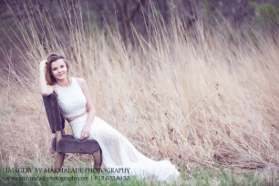 a photo of a young lady in her prom dress in tall grasses in the joliet illinois area