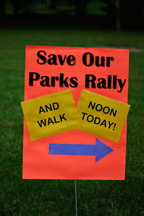Save Our Parks Rally Sign