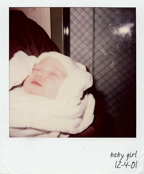 polaroid of lauren, one day old